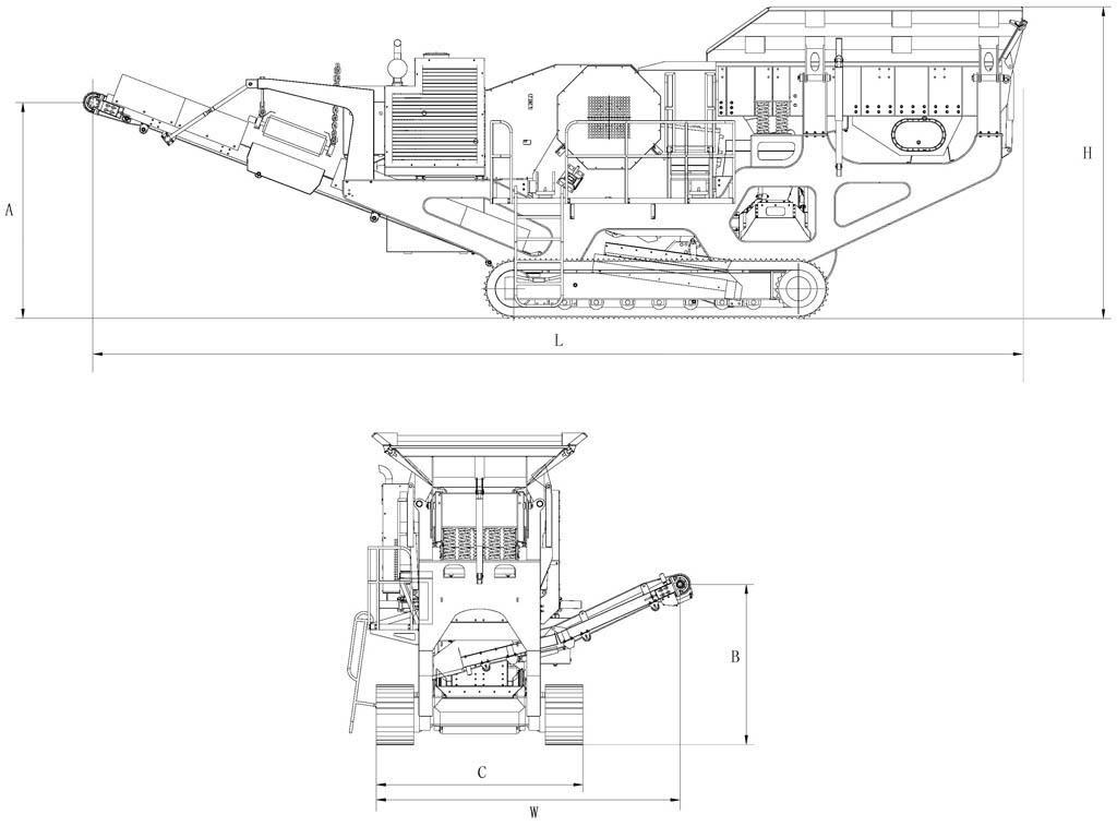 履带移动颚式破碎机结构图